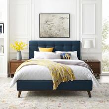McKenzie Queen Biscuit Tufted Upholstered Fabric Platform Bed in Blue