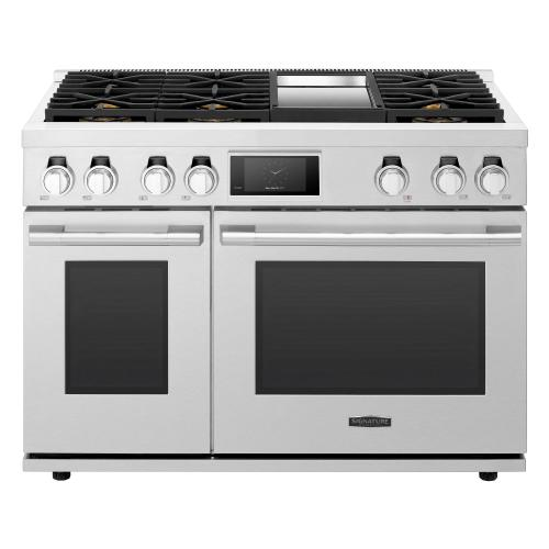 48-inch Dual-Fuel Pro Range with 6 Burners and Griddle