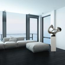View Product - Abstract Mask Floor Sculpture In Chrome // White Base