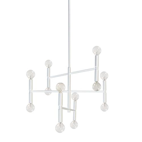 12lt Incandescent Chandelier, Matte White