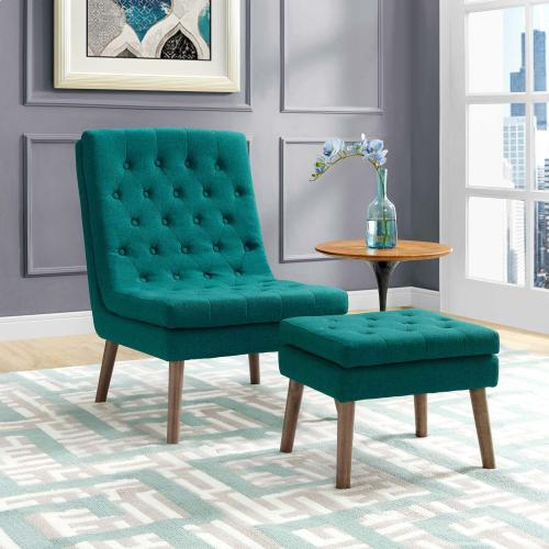Modway - Modify Upholstered Lounge Chair and Ottoman in Teal