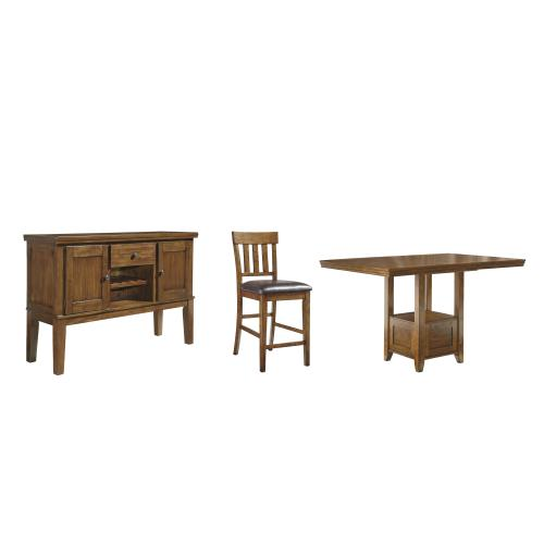 Counter Height Dining Table and 6 Barstools With Storage