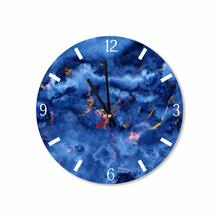 Blue/gold Abstract Clouds Round Acrylic Wall Clock