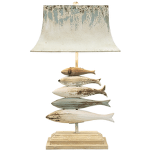 Distressed Blue & Ivory Carved Fish Table Lamp. 60W Max.