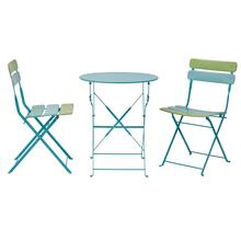 Folding 3pc Metal Table and Chairs Set In Blue/green