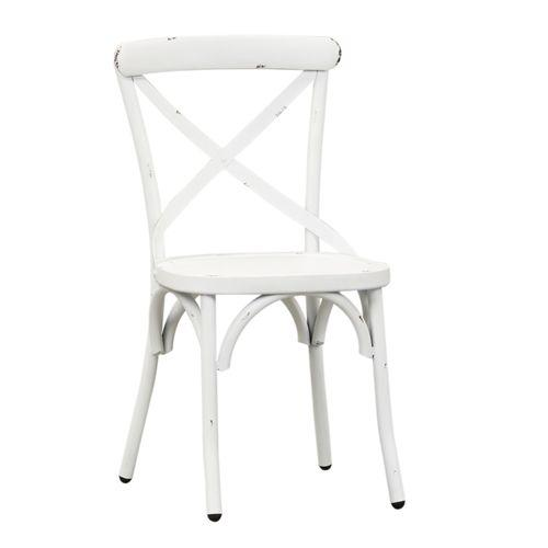Liberty Furniture Industries - X Back Side Chair - Antique White