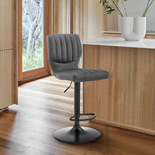 Bardot Adjustable Swivel Bar Stool in Matte Black with Gray Faux Leather