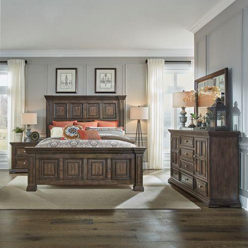 Gallery - King California Panel Bed, Dresser & Mirror, Night Stand