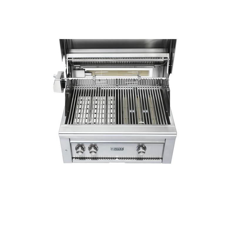 """27"""" Lynx Professional Built In Grill with 1 Trident™ and 1 Ceramic Burner and Rotisserie, NG"""
