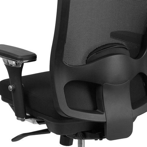 Flash Furniture - HERCULES Series 24\/7 Intensive Use Big & Tall 350 lb. Rated Black Mesh Multifunction Swivel Ergonomic Office Chair