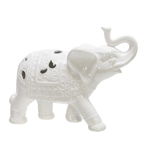 "Ceramic 10"" Elephant Figurine, White"