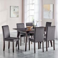 Prosper 7 Piece Upholstered Velvet Dining Set in Cappuccino Gray