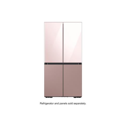 BESPOKE 4-Door Flex™ Refrigerator Panel in Rose Pink Glass - Top Panel