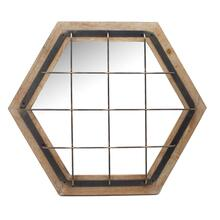 Caged Hexagon Wood Mirror