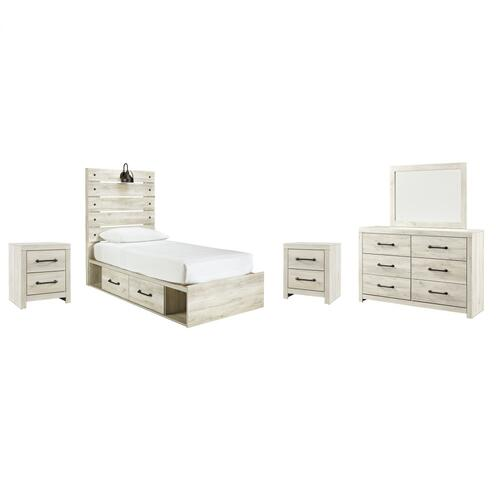 Ashley - Twin Panel Bed With 4 Storage Drawers With Mirrored Dresser and 2 Nightstands