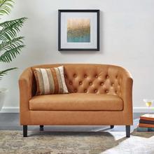 See Details - Prospect Upholstered Vinyl Loveseat in Tan