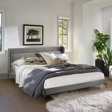 View Product - Legend Gray Fabric Eastern King Platform Bed with Black Metal Legs