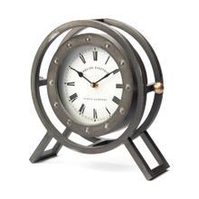 See Details - Gaston Gray Metal Circular Table Clock