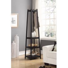 See Details - Vassen Coat Rack w/ 3-Tier Storage Shelves in Black Finish