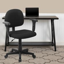 View Product - Mid-Back Black Fabric Swivel Task Office Chair with Adjustable Arms