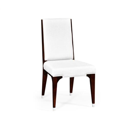 Black Eucalyptus Dining Side Chair, Upholstered in COM