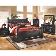 King Poster Bed With 2 Storage Drawers With Mirrored Dresser, Chest and 2 Nightstands