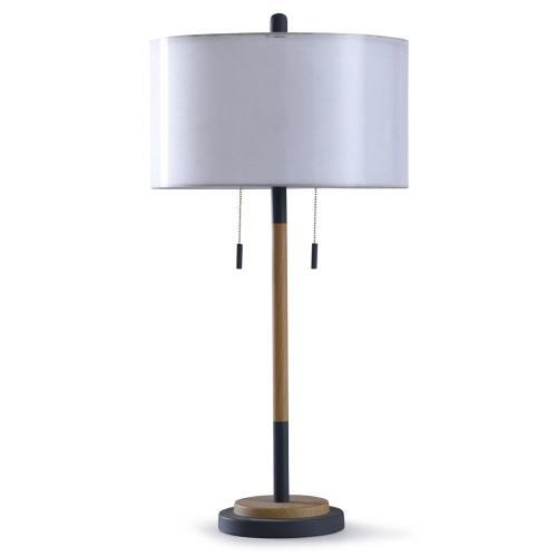 Lari Gray 32in Modern Metal Table Lamp, Twin Pull Chain Table Lamp