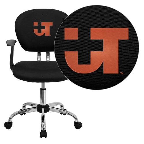 Texas SW Medical Center Dallas Embroidered Black Mesh Task Chair with Arms and Chrome Base