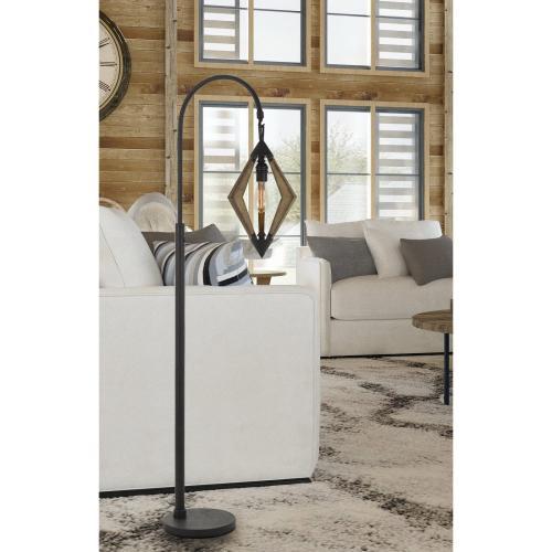 Valence 60W Metal/Pine Wood Down Bridge Floor Lamp (Edison Bulb included)