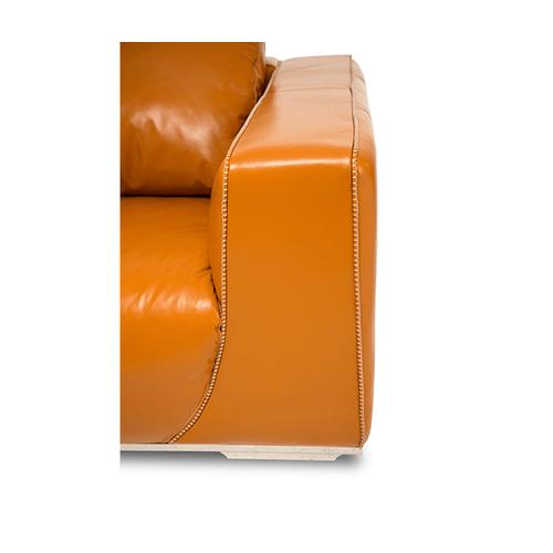 Sophia Leather Standard Sofa in Tangerine St Steel