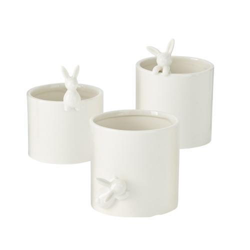 "4.5""x 3.5""x 3.5"" Peeking Bunny Pots"