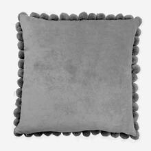 "Hamal 20"" Square Velvet Pillow with Pom Poms, Grey"
