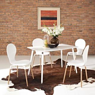 Lode Rectangle Wood Dining Table in White