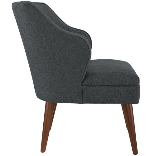 Swell Upholstered Fabric Armchair in Gray