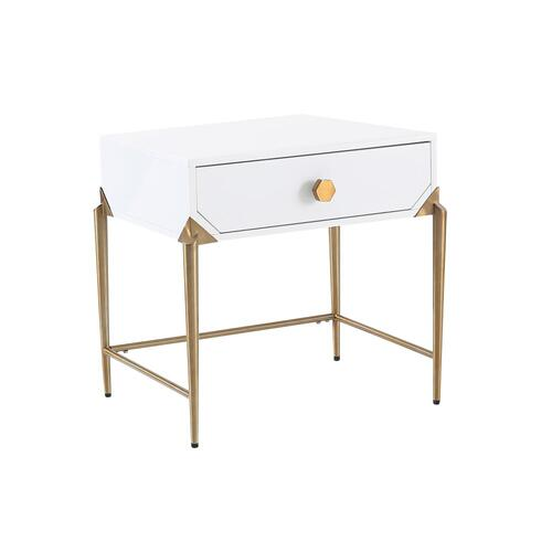 Bajo White Lacquer Side Table