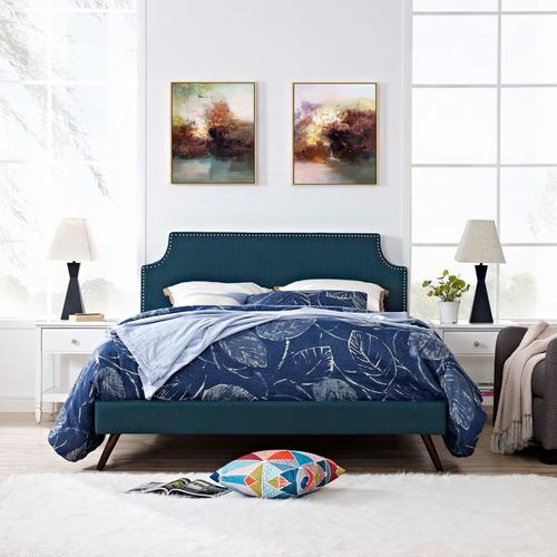 Modway - Corene Queen Fabric Platform Bed with Round Splayed Legs in Azure