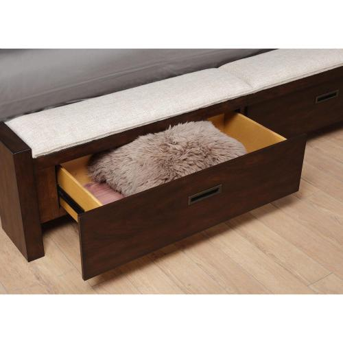 Riata - Queen Storage Bench Footboard With Platform - Warm Walnut Finish