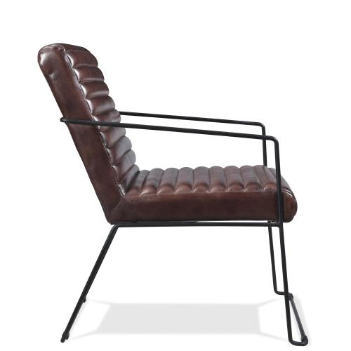 Mix-n-match Chairs - Horizontal Tufted Leather Arm Chair - Obsidian Finish