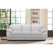 Zanna Contemporary Sofa in Genuine Dove Grey Leather with Brown Wood Legs