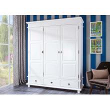 20900135 - Solid Wood Danz-3 Wardrobe, Whitewash