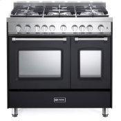 "Matte Black 36"" Gas Double Oven Range - Prestige Series"