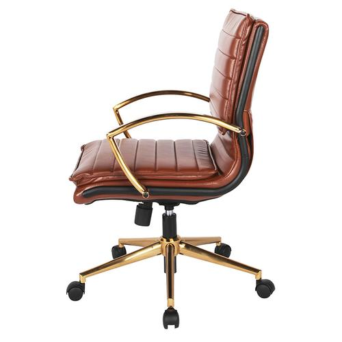Office Star - Mid-back Faux Leather Chair
