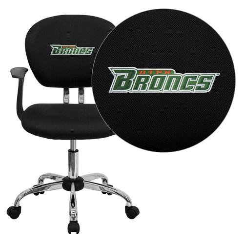 Texas - Pan American Broncs Embroidered Black Mesh Task Chair with Arms and Chrome Base