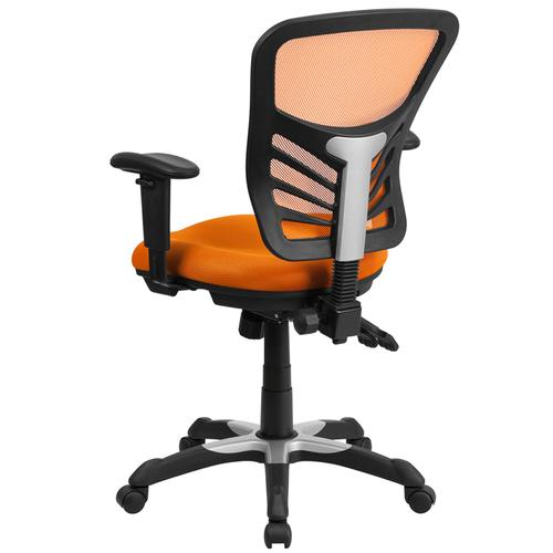 Flash Furniture - Mid-Back Orange Mesh Multifunction Executive Swivel Ergonomic Office Chair with Adjustable Arms