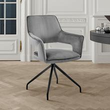 View Product - Hadley Dining Room Accent Chair in Grey Velvet with Black Finish