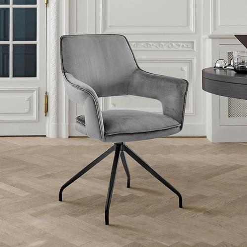 Armen Living - Hadley Dining Room Accent Chair in Grey Velvet with Black Finish