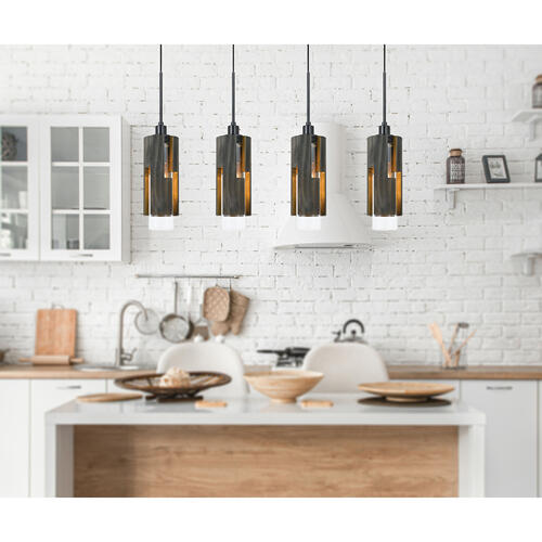 60W X 4 Reggio Wood Pendant Glass Fixture (Edison Bulbs Not included)