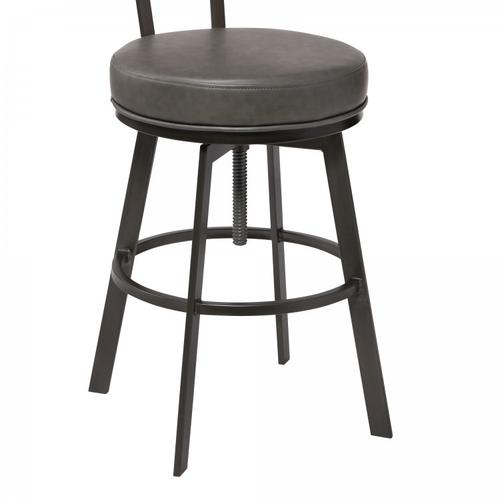 Montreal Mid-Century Adjustable Barstool in Mineral Finish with Grey Faux Leather and Oak Wood Finish Back