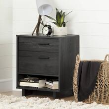 Nightstand with Drawers and Cord Catcher - Gray Oak