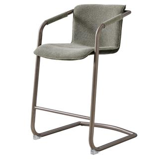 Indy Fabric Counter Stool Silver Frame, Sage Green/Velvet Green